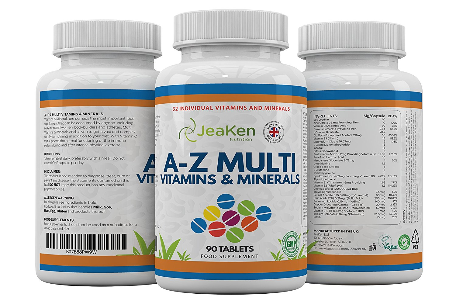 A Z Multivitamins And Minerals Tablets By Jeaken 32 Multi Vitamins For Woman And Multi Vitamins For Men Multiple Minerals Supplements To Supercharge Your Health 90 Vegan Multivitamins Tablets Multi